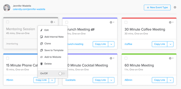 Calendly meeting toggle